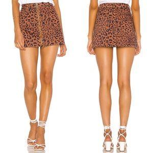 Free People Zip It Up Printed Mini Skirt leopard